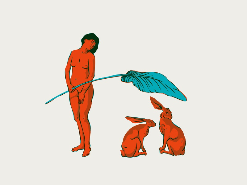 Protect each other 🌞 human figure study figure drawing shadow light standing leaf shade hare bunny rabbit nude figure person plants woman sketch character illustration