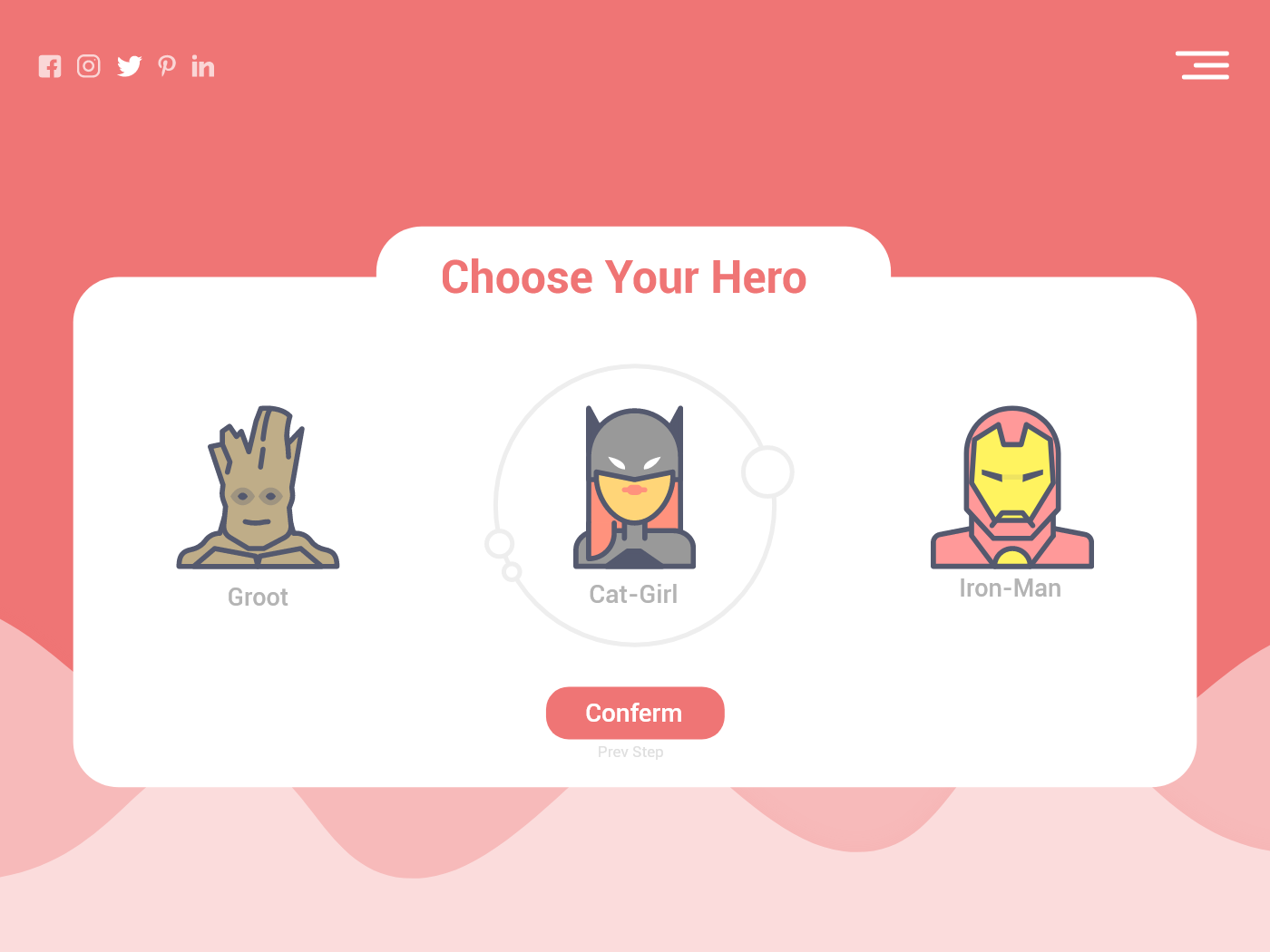 Choose Hero heroes choose web app web application ui design 100 ui design challenge 100 day ui challenge 100 day project vector illustration