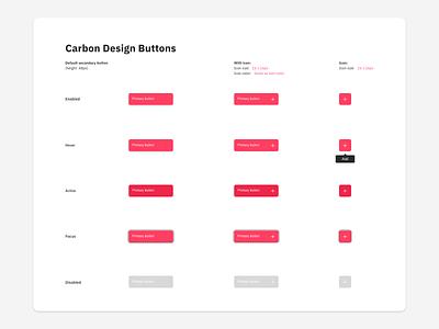 Carbon Buttons app web dribbble adobe designer adobe xd ux minimal white adobexd designs uiux ui button design ibm ibm design
