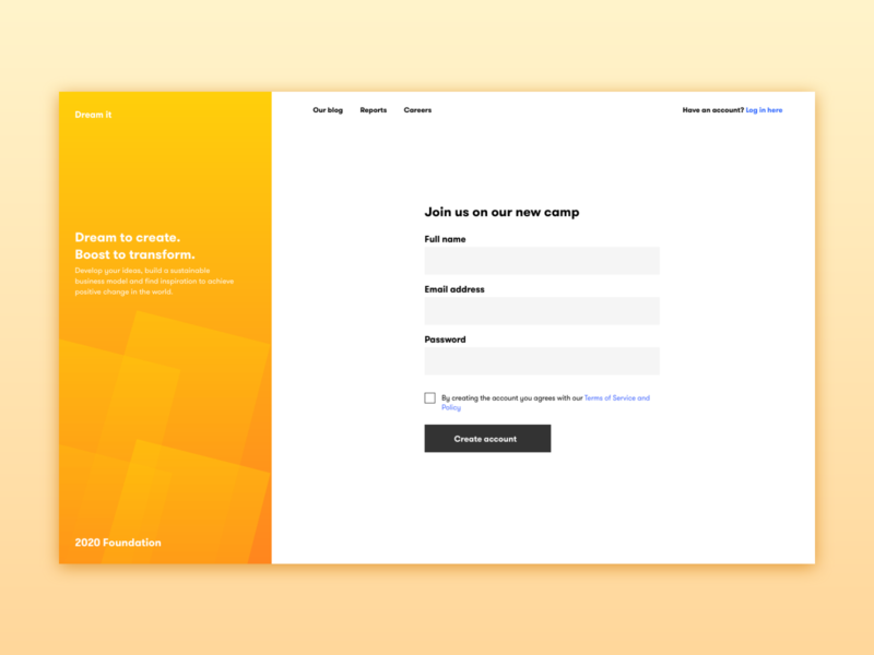 Camp sign up web dribbble adobe minimal ux illustration design sign in uiux ui login camp register sign up