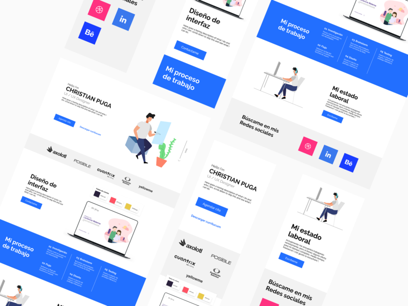Portfolio mobile gradient xd white app web dribbble adobe minimal ux design ui