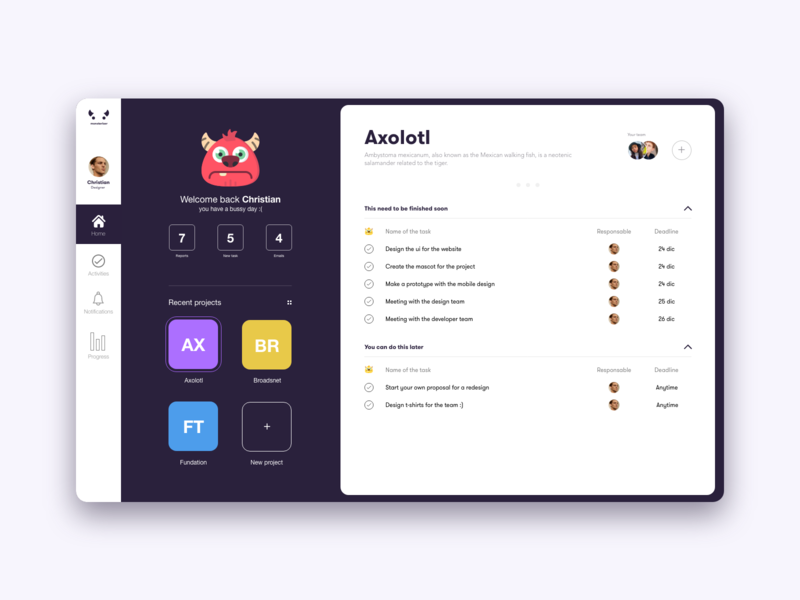 Monster Managment gradient xd white app web dribbble adobe minimal ux design ui