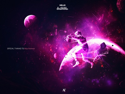 Hello Dribbble art digital invitation invite adobe astronaut firstshot space photoshop photomanipulation pink