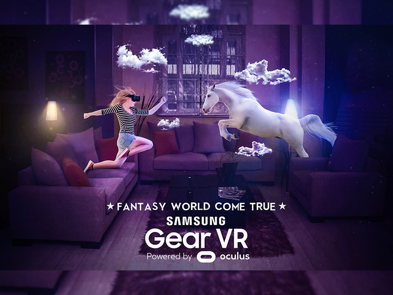 Gear Vr glasses virtual reality fantasy world girl horse gear vr vr samsung