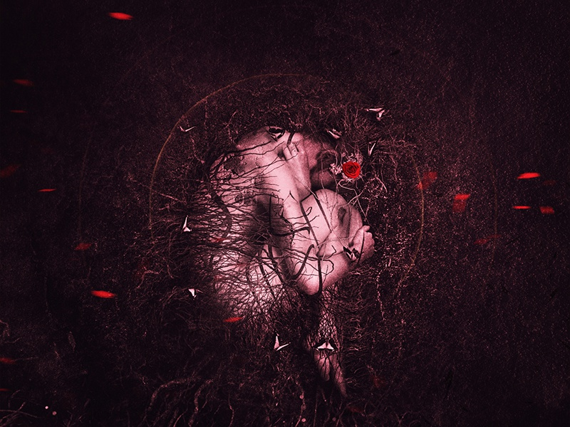 S O L E D A D photomanipulation digitalart darkness sad red girl alone isolation