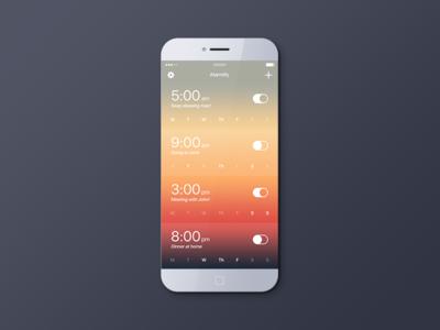 Alarm Mobile App app design alarm app design interface ui flat