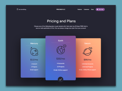 Pricing and Plans dailyui daily ui ui web landing color dark packages plans pricing