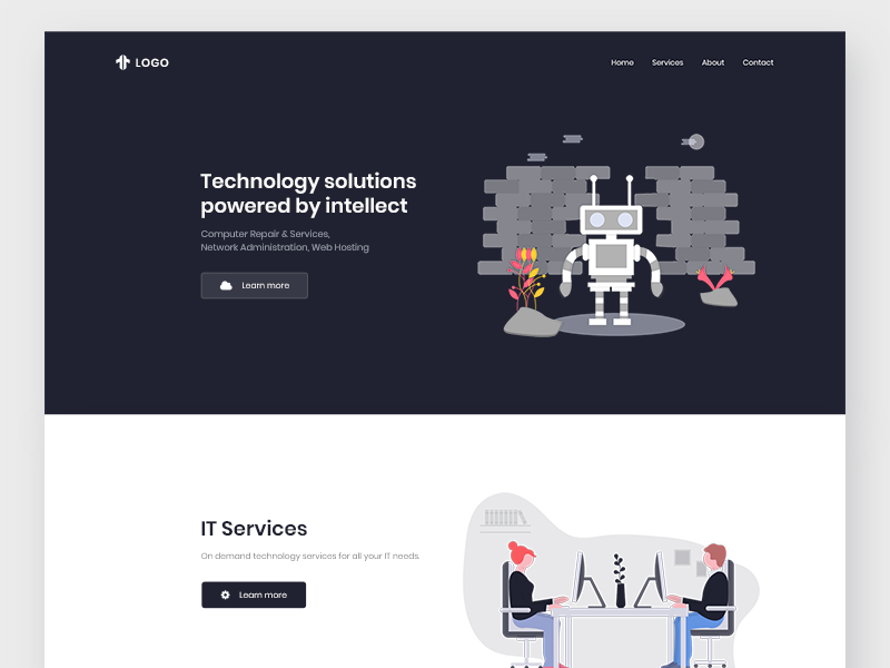 Landing page - Technology user experience user interface design ui ux product minimal landing website web technology agency