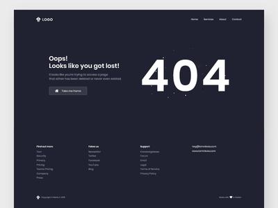 404 - Error page agency design ux ui space landing website web page flat error 404