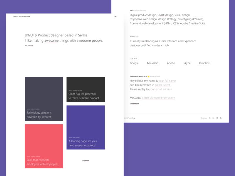 Portfolio concept portfolio product website minimal interface ux flat page web landing design ui