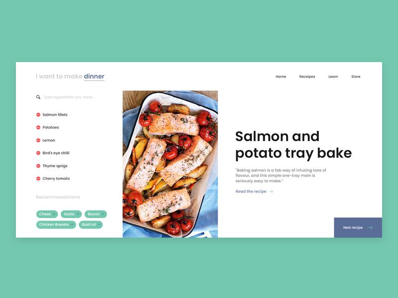 Kitchen Assistant cooking assistant kitchen minimal colors typography clean app design website product interface ux flat landing page web design ui