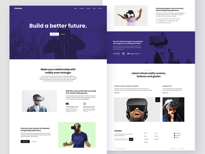 Build a better future - VR Landing page for sale news shop virtual reality artificial intelligence vr color clean app design agency website product interface ux flat page web landing design ui