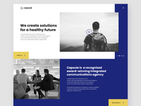 Capsule - Landing page ui design landing web page flat ux interface product website agency minimal clean color team health layout