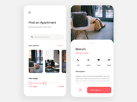 Find an apartment - App app design website flat product page experience interface user modern landing apartment rental real estate rent mobile application app design ui ux