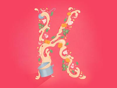 K Letter Illustration salt carrot parsley corn garlic food soup kitchen pink red illustrator design letter lettering illustraion