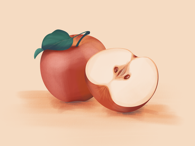 Apples design orange red digital painting illustration digital illustration apple