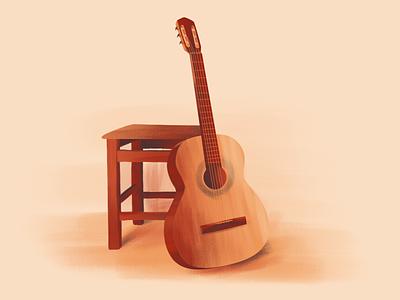 Guitar designer design musical instrument brown digital illustration digital art illustration guitar