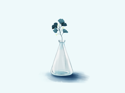 Glass Vase blue digital painting digital art digital illustration leaves flowers vase glass ui design illustration