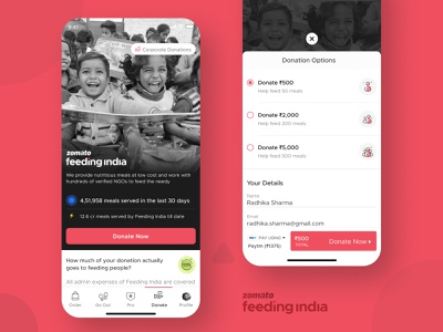 Zomato Feeding India: In App Tab app ux branding ui design