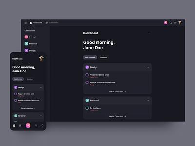 Dashboard - Daily Overview webdesign mobile responsive concept management manager task tasks daily overview website todo dark app design application web ux ui dashboard