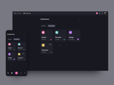 Collections dark dashboard folders projects collections management manager task tasks web design todo website concept application web ux page app design ui