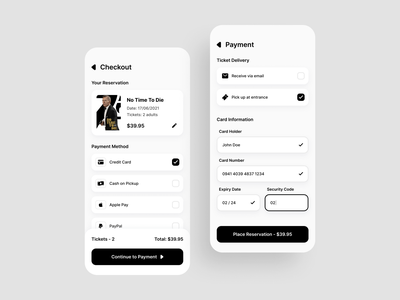 Credit Card Checkout - Daily UI 002 credit card checkout page design app application ux ui daily 002 challenge web design clean daily ui 002 light mode movie theater concept web minimalistic