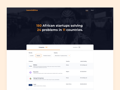 Listing Page - LaunchAfrica web design company filtering listing filter home landing launch africa african startups table list view website application web ux page app ui design