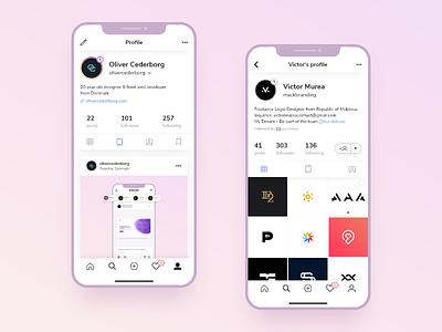 Instagram Profile user interface app design ui ux page profile concept instagram social