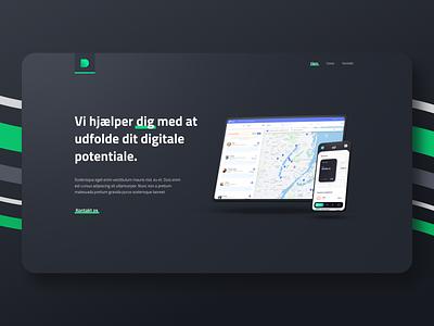 Devant Landing Page application app dark grey green mockup minimal danish agency website web concept branding ux ui landing page design