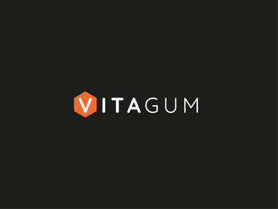 Logo for Vitagum refugeenation black orange hexagons hexagon health gummies gum healthy charity logo vitagum