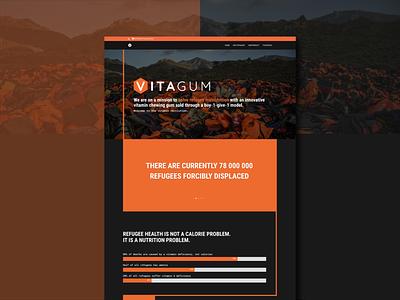 Website for vitaGum nonprofit oswald webdesign orange county graphic designer website impact activism scientific hexagon bold black orange refugee charity