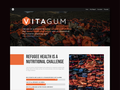 VitaGum Web branding hexagon banner orange webdesign web landing page start-up charity nutrition gum science vitamins