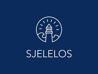 SjeleLOS retrowave navy lineart stamp retro circle lighthouse logo lighthouse