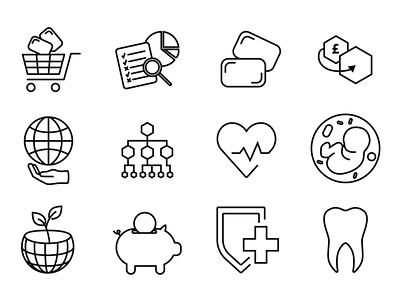 Icon set gum immunity activism set of icons icons hearth impact heart savings dental health vitamins science charity