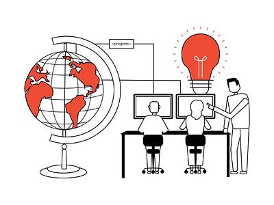 Illustration for Impact Cube teamwork technology idea globe social entrepreneurship innovation illustration