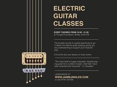Gitar Classes Flyer gold theme electric-guitar illustration dark guitar brochure flyer