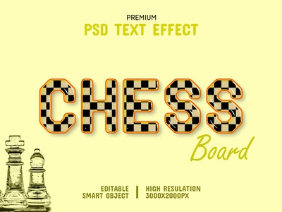 Chess Board-PSD Text Effect Template 🐴