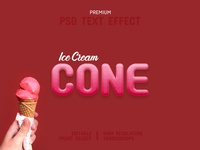 Ice Cream Cone-PSD Text Effect Template 🍦