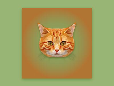 The Red Cat low poly лоу поли полигональная графика рыжий кот polygonal art low poly red cat кот рыжий green polygons cat