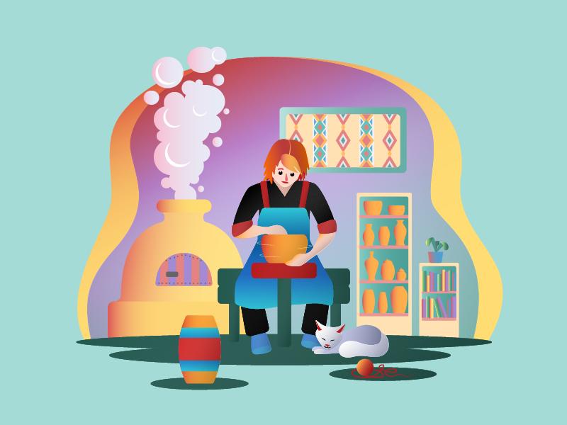 Potter ceramics pottery man person flat illustration flat potter professions illustration