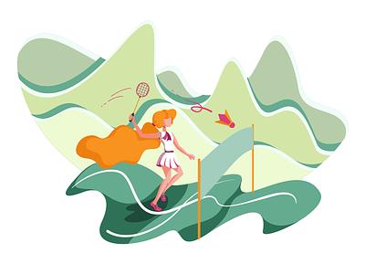 Badminton Girl mountains flat flat illustration green orange red hair lady woman girl badminton sports sport