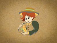 Boy with the corn illustration