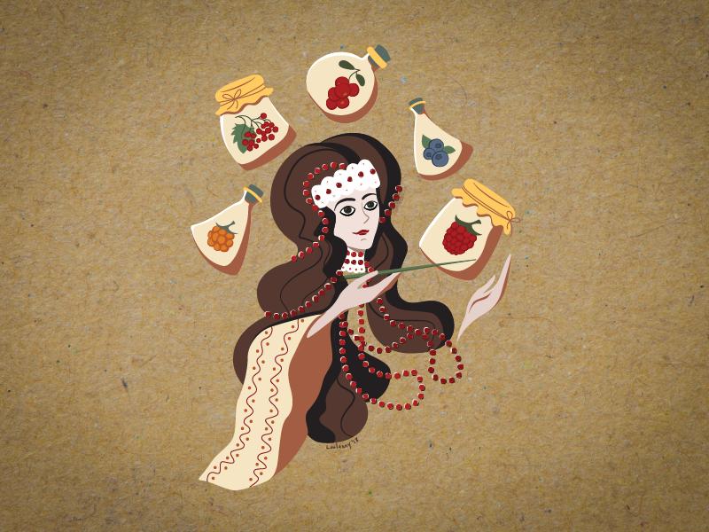 The Enchantress of Wild Berries enchantress folk beads craft autumn berries lady girl illustration character flat illustration flat