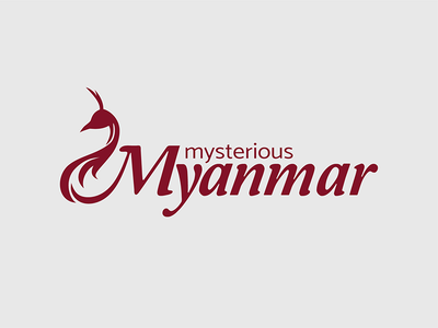 Logo for the Myanmar travel company peacock burgundy myanmar travel logo