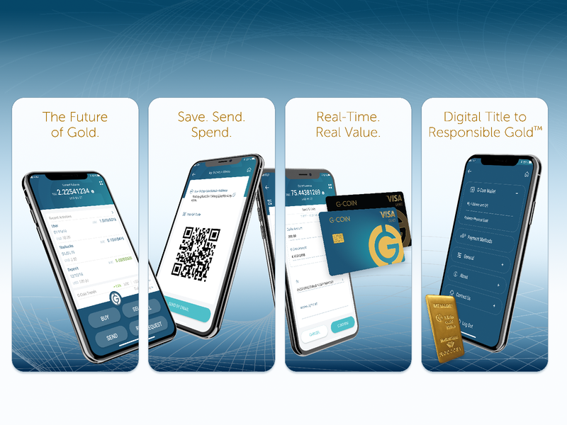 G-Coin App Store Screenshots crypto wallet g-coin gold visual design store google play store apple store screenshots app store