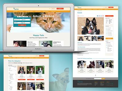 GetPet - Pet Adoption Website responsive website design responsive animal web design homepage pet care pet adoption website cat dog pets adoption ui design