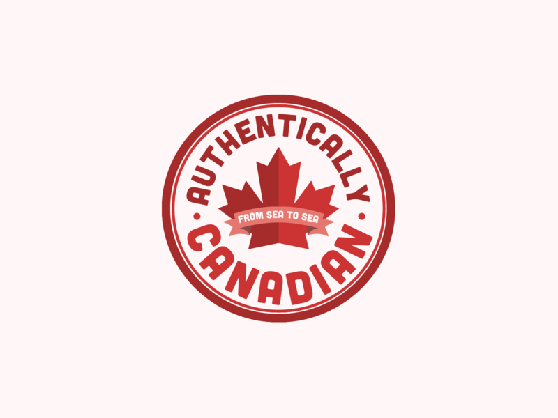 Authentically Canadian Logo | 30 Day Logo Challenge Day 17 sticker maple leaf certified verified local authentic canadian canada logocore branding design logo 30daylogochallenge