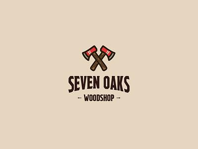 30DaysofLogos Challenge Day 18 - Carpentry Logo woodshop woodworking axe wood oaks seven carpentry branding design logo 30daysoflogos