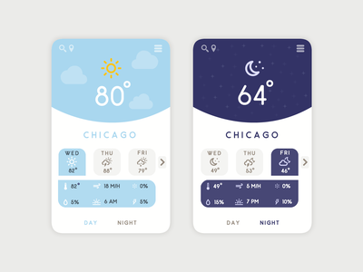 Mobile Weather App Concept | Weekly Warm-Up night day dribbbleweeklywarmup icon design concept app weather mobile