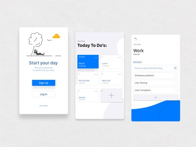 """Android """"To Do"""" UI App interface simple life meetings daily task code developer android adobe xd sketch figma wireframe mockup ux ui app design calendar to do app"""